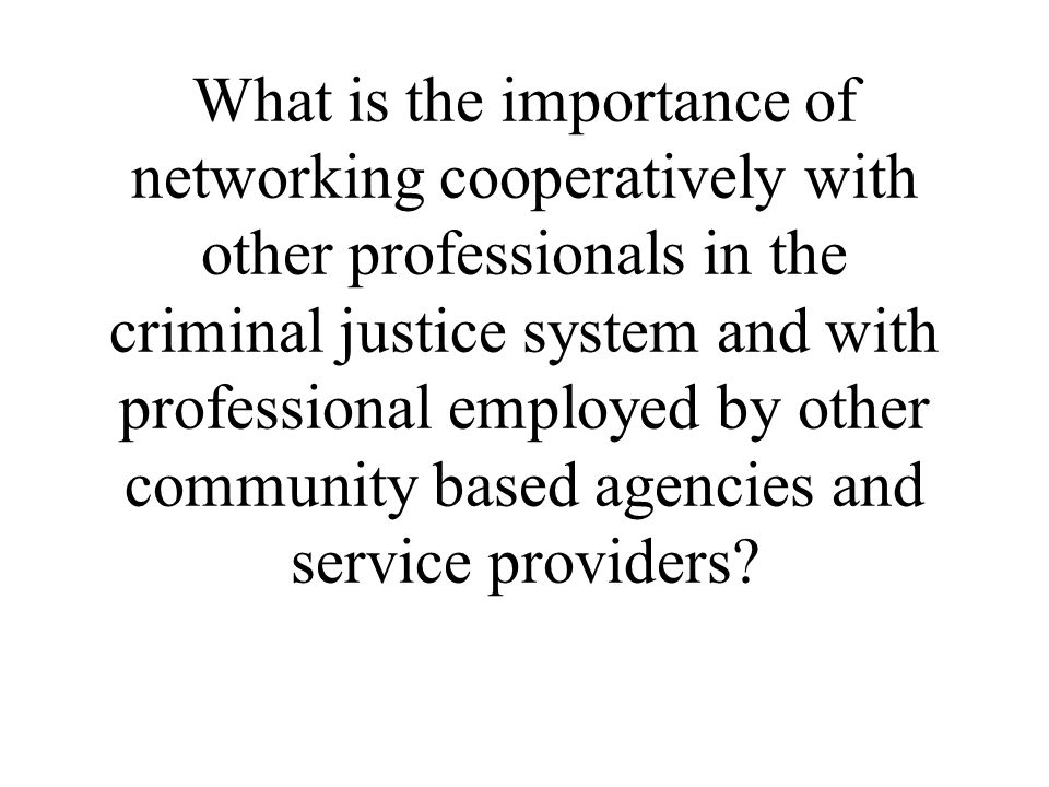 What is the importance of networking cooperatively with other professionals in the criminal justice system and with professional employed by other community based agencies and service providers