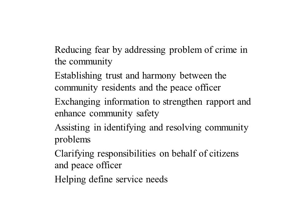 Reducing fear by addressing problem of crime in the community
