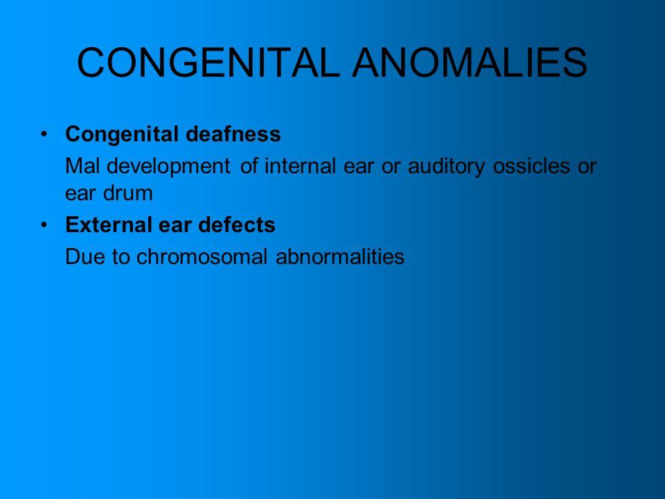 CONGENITAL ANOMALIES Congenital deafness
