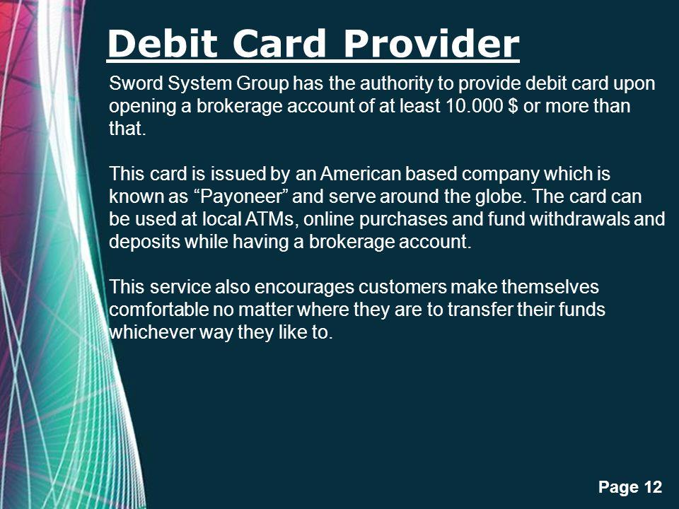 Debit Card Provider