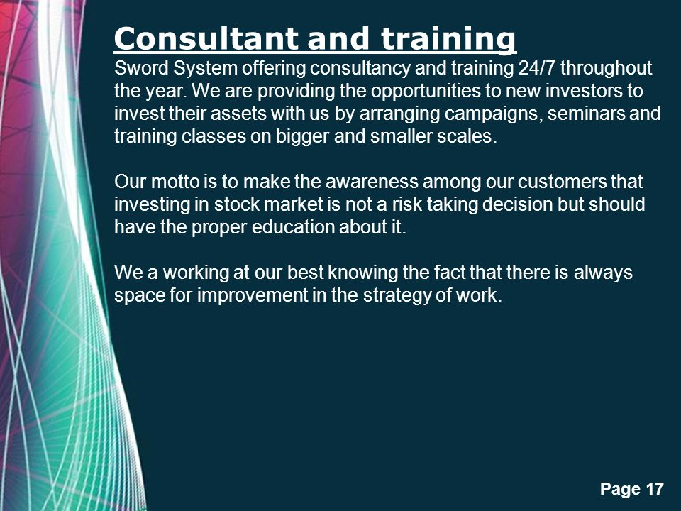 Consultant and training