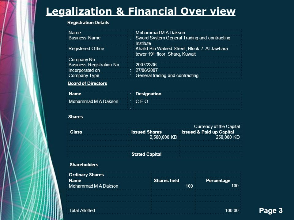 Legalization & Financial Over view