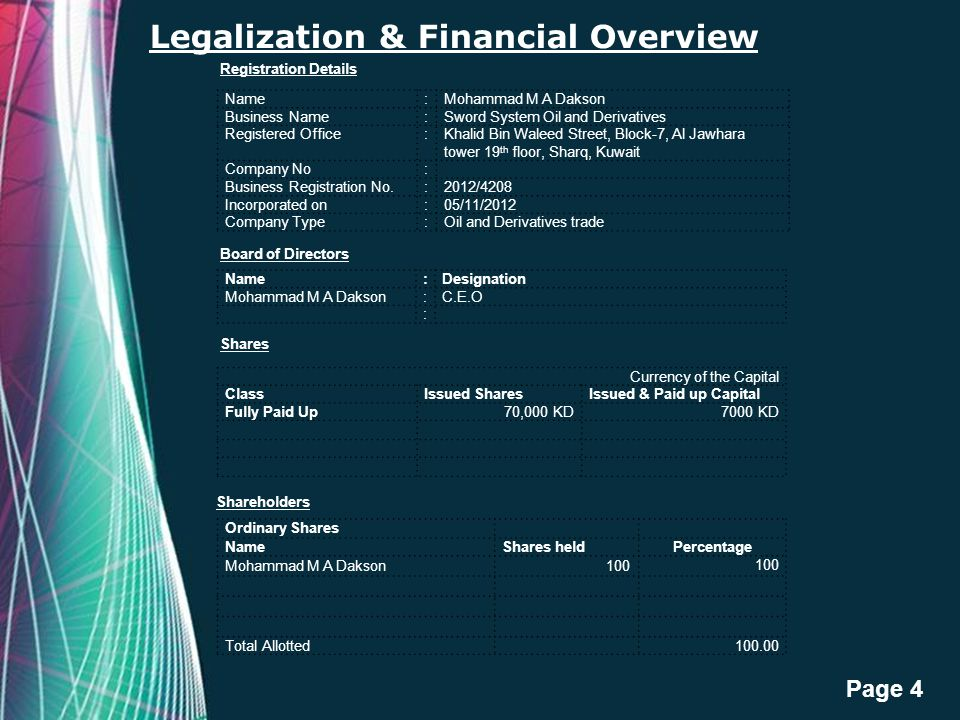 Legalization & Financial Overview