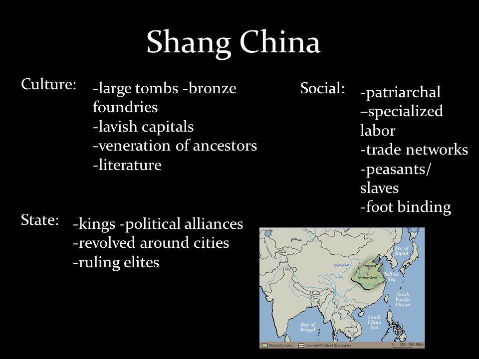 Shang China Culture: -large tombs -bronze foundries -lavish capitals