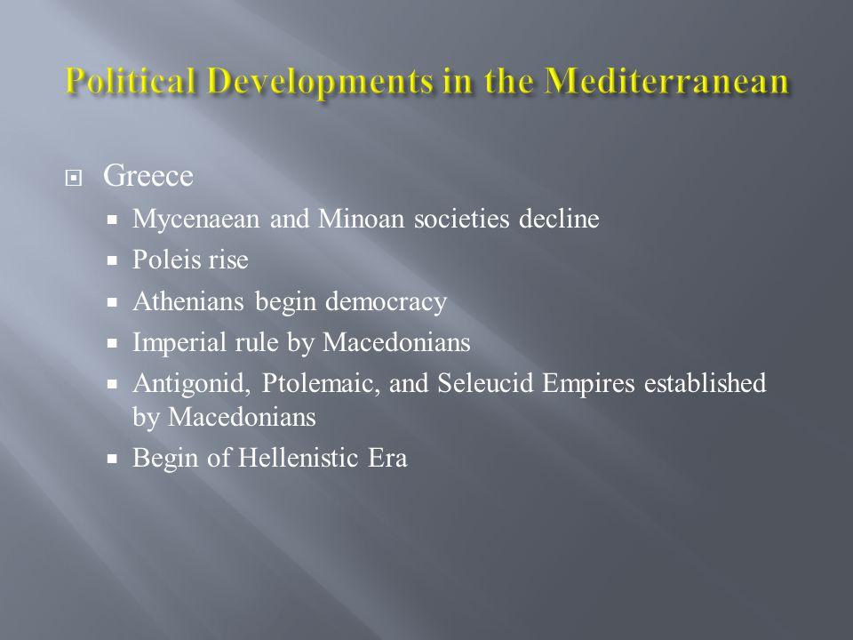 Political Developments in the Mediterranean