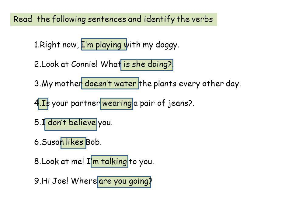 Read the following sentences and identify the verbs