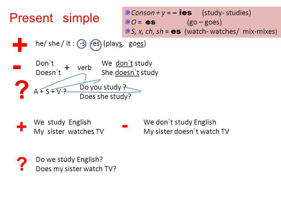 + - - + Present simple + Conson + y = – ies (study- studies)