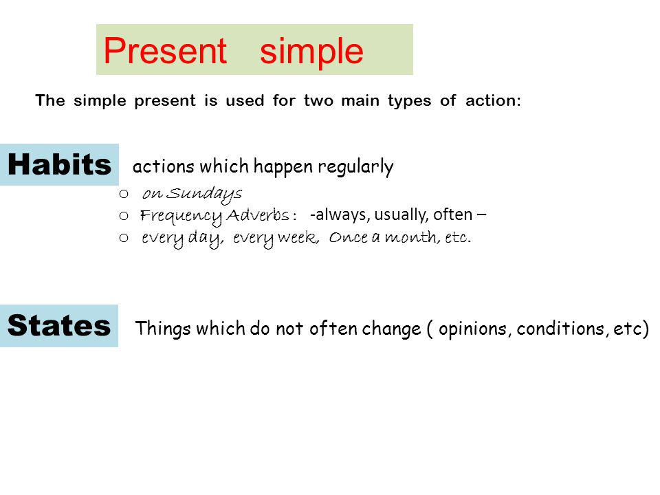 Present simple Habits actions which happen regularly States