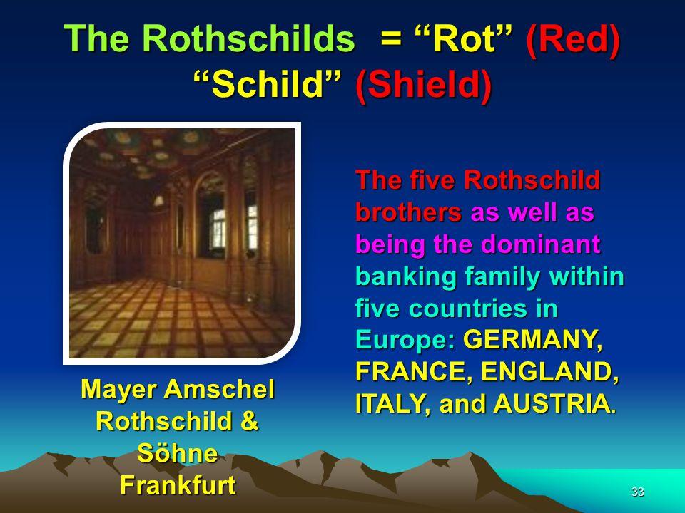 The Rothschilds = Rot (Red) Schild (Shield)