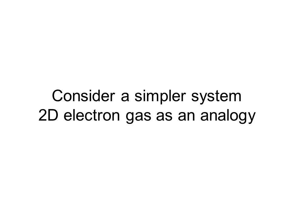 Consider a simpler system 2D electron gas as an analogy
