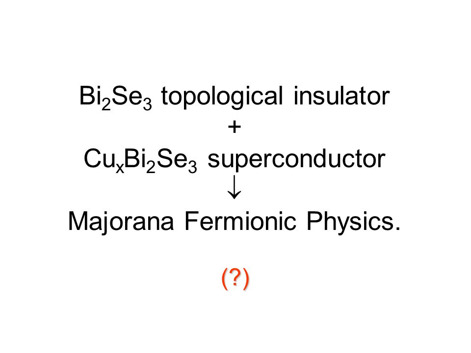 Bi2Se3 topological insulator + CuxBi2Se3 superconductor  Majorana Fermionic Physics.