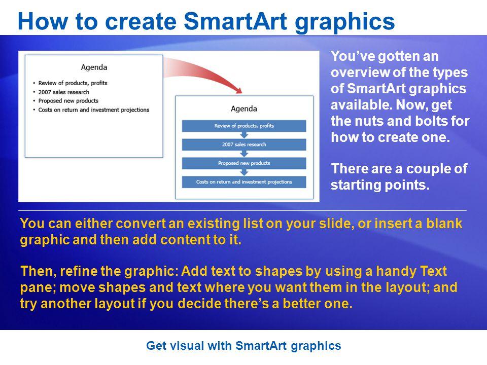 How to create SmartArt graphics