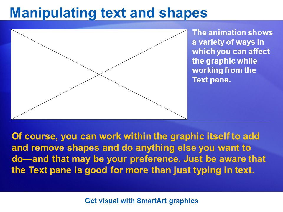 Manipulating text and shapes