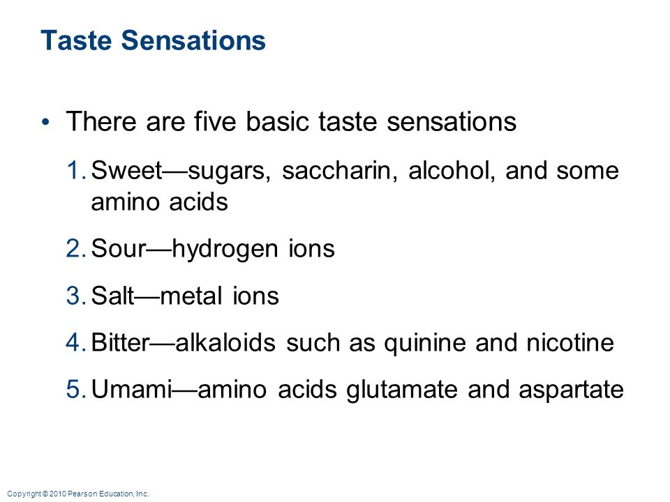 There are five basic taste sensations