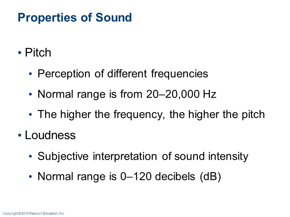 Properties of Sound Pitch Loudness Perception of different frequencies