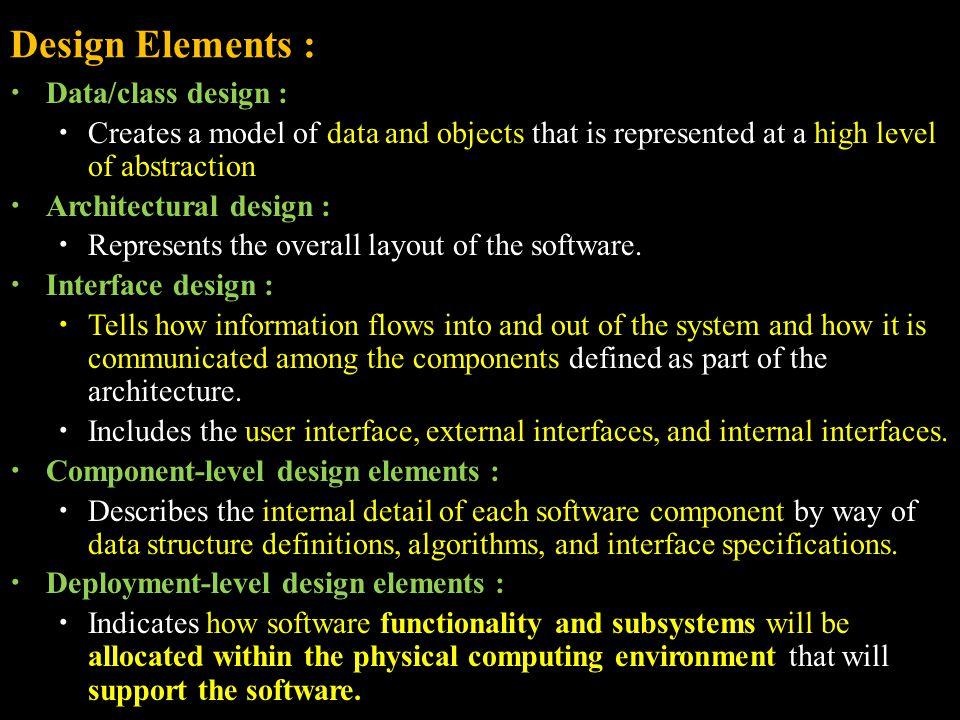 Design Elements : Data/class design :