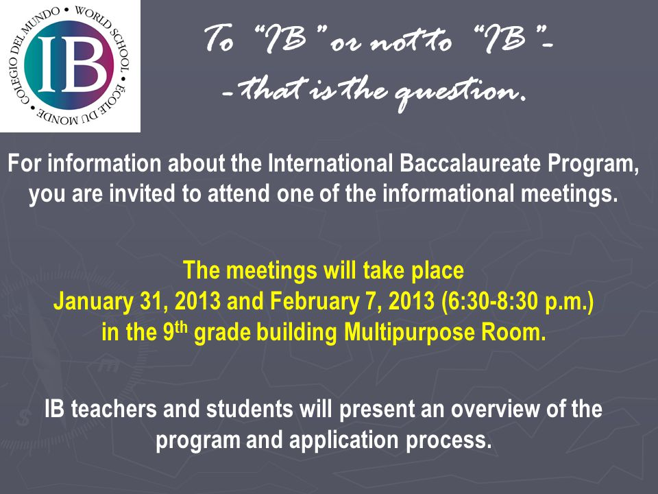 To IB or not to IB -- that is the question.
