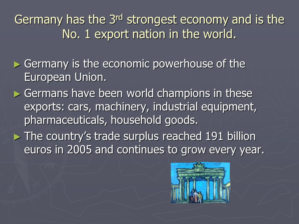 Germany has the 3rd strongest economy and is the No