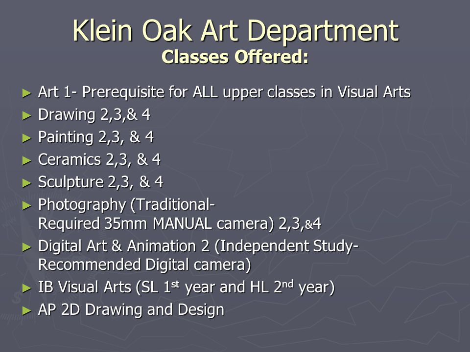 Klein Oak Art Department