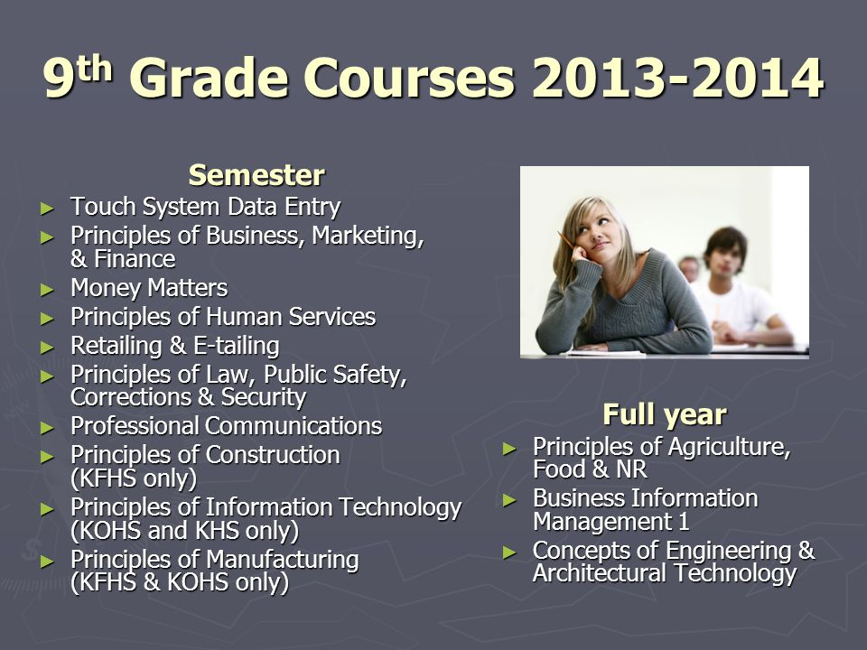 9th Grade Courses 2013-2014 Semester Full year Touch System Data Entry