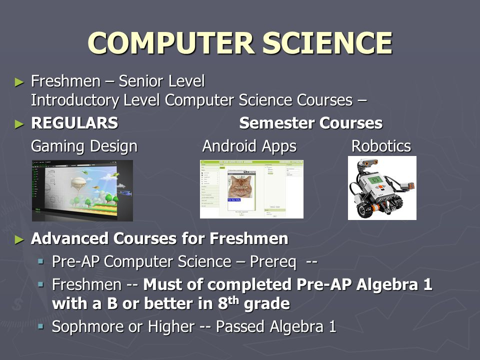 COMPUTER SCIENCE Freshmen – Senior Level Introductory Level Computer Science Courses – REGULARS Semester Courses.
