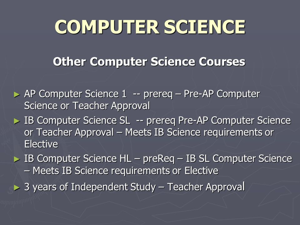 COMPUTER SCIENCE Other Computer Science Courses