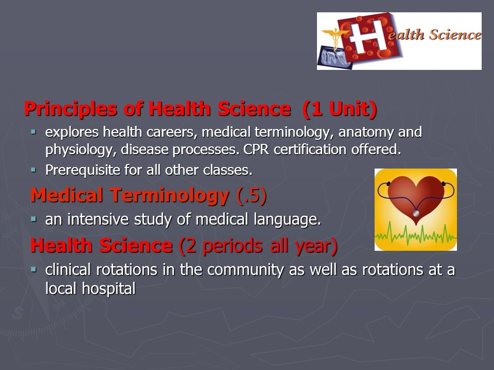 Principles of Health Science (1 Unit)