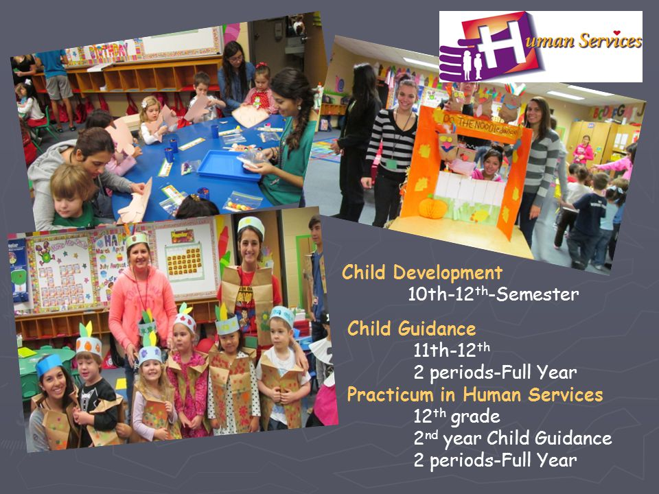 Child Development 10th-12th-Semester. Child Guidance. 11th-12th. 2 periods-Full Year. Practicum in Human Services.