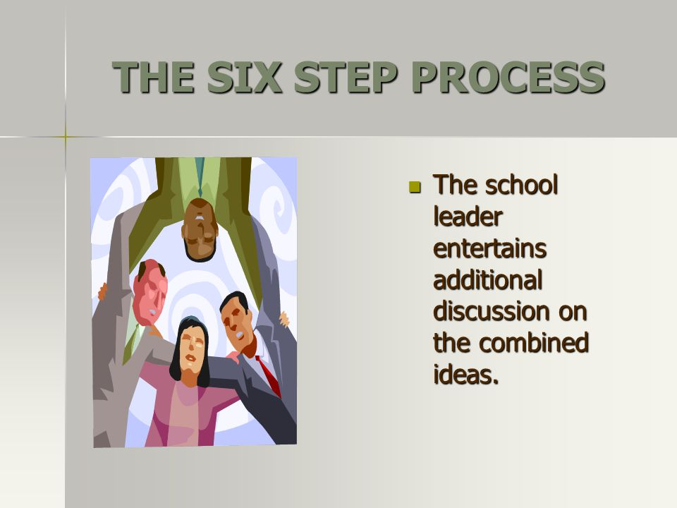 THE SIX STEP PROCESS The school leader entertains additional discussion on the combined ideas.