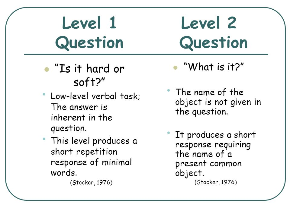 Level 1 Level 2 Question Question