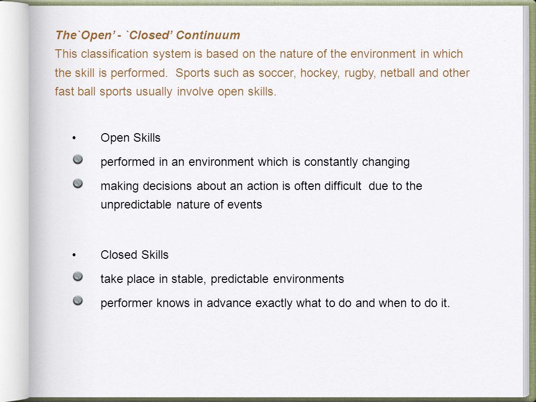 The`Open' - `Closed' Continuum