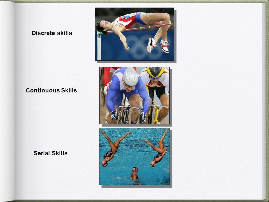 Discrete skills Continuous Skills Serial Skills