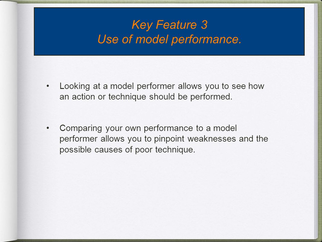 Use of model performance.