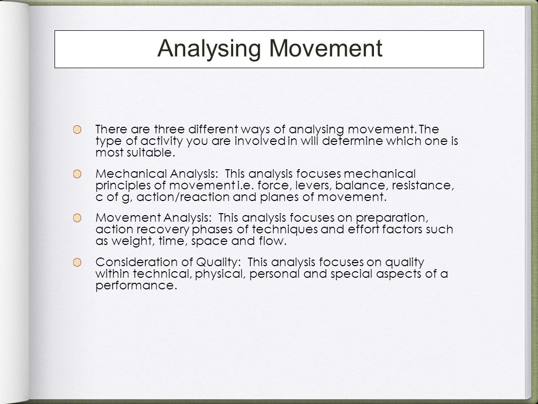 Analysing Movement
