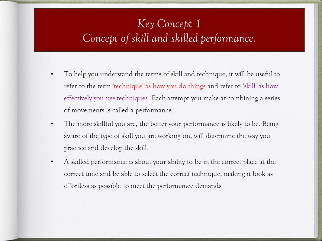 Concept of skill and skilled performance.