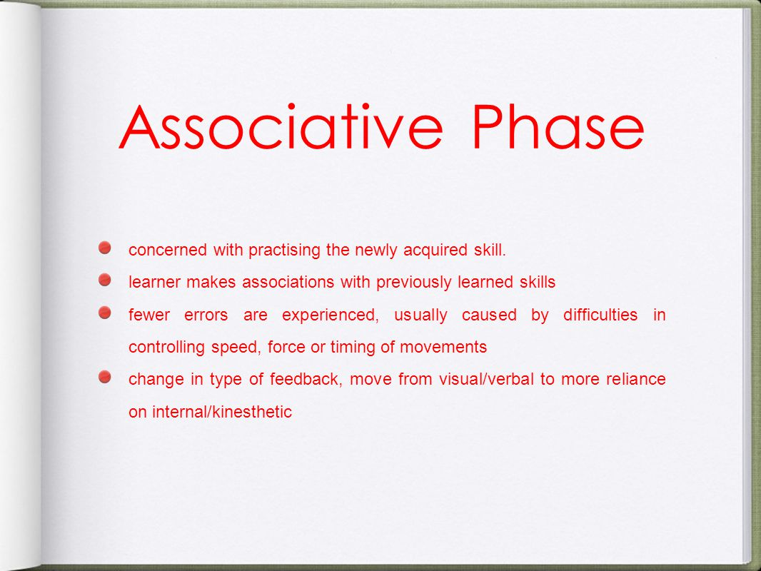 Associative Phase concerned with practising the newly acquired skill.
