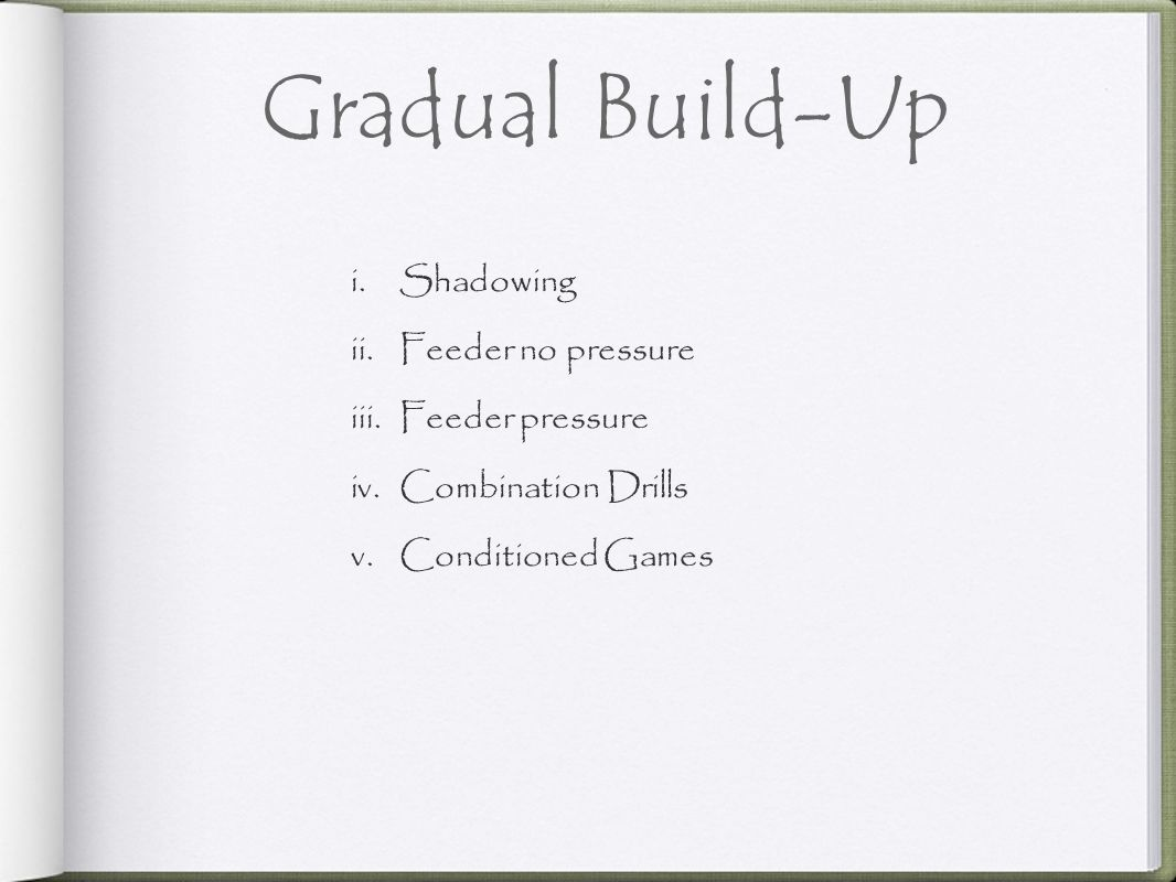 Gradual Build-Up Shadowing Feeder no pressure Feeder pressure