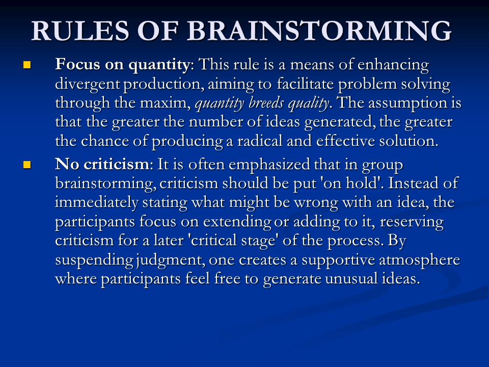 RULES OF BRAINSTORMING