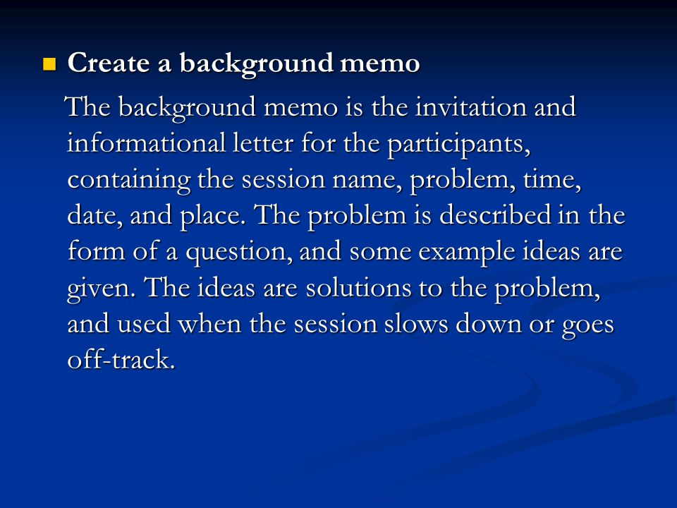 Create a background memo