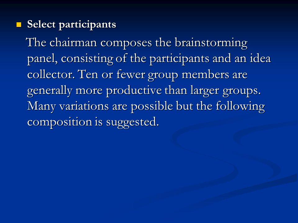 Select participants