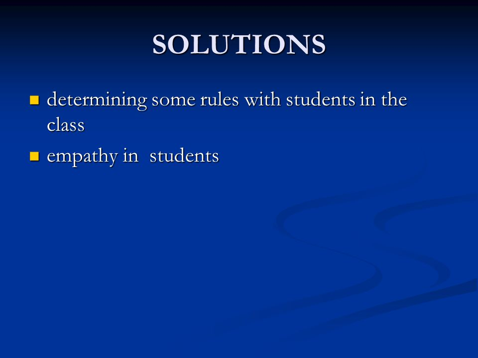 SOLUTIONS determining some rules with students in the class