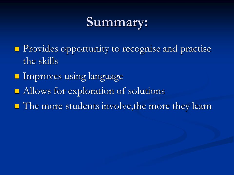 Summary: Provides opportunity to recognise and practise the skills