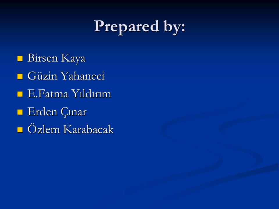 Prepared by: Birsen Kaya Güzin Yahaneci E.Fatma Yıldırım Erden Çınar