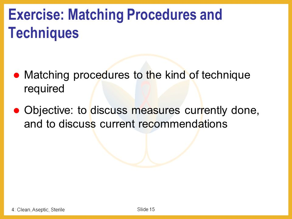 Exercise: Matching Procedures and Techniques