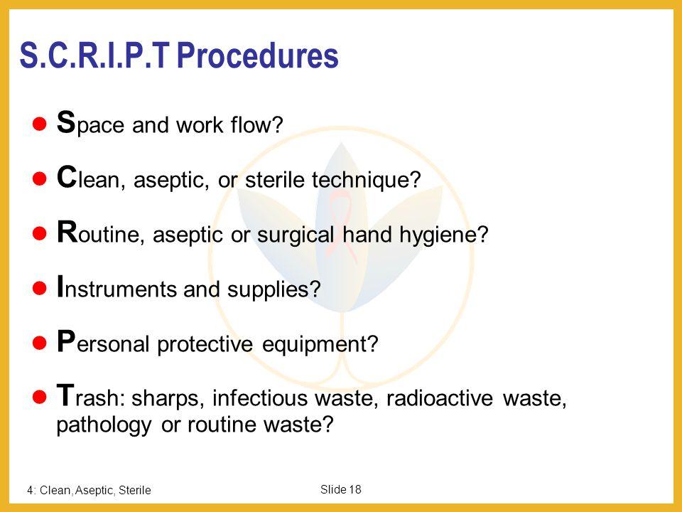 S.C.R.I.P.T Procedures Space and work flow