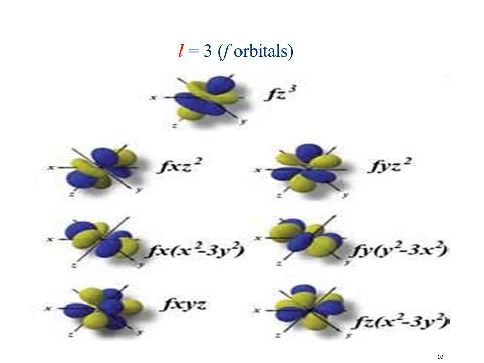 l = 3 (f orbitals)