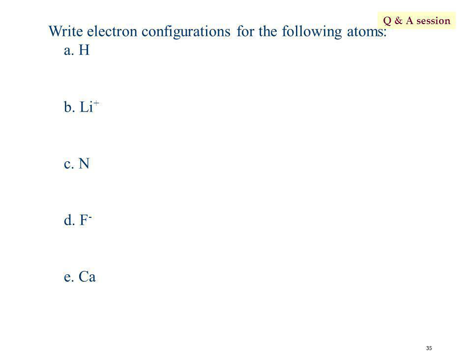 Write electron configurations for the following atoms: a. H b. Li+
