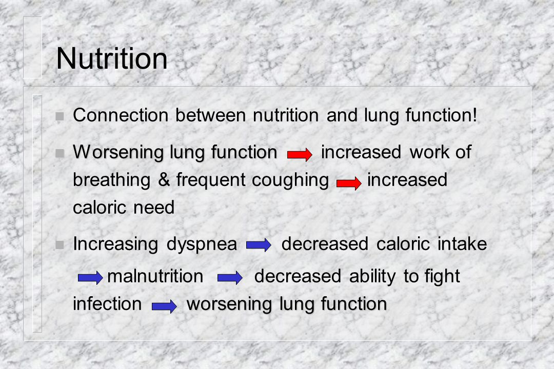 Nutrition Connection between nutrition and lung function!