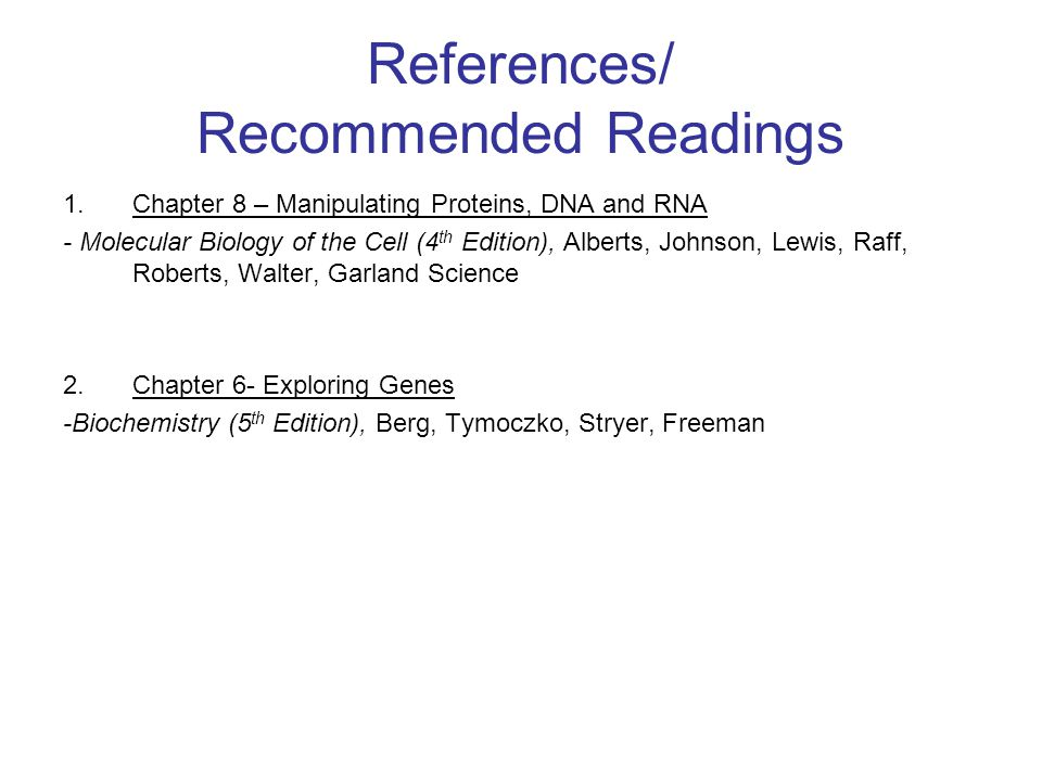 References/ Recommended Readings
