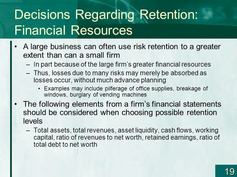 Decisions Regarding Retention: Financial Resources